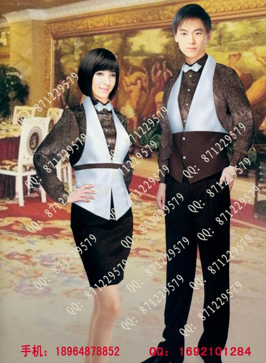 西餐厅服务员制服/欧式餐厅工作服/西式服务员服装